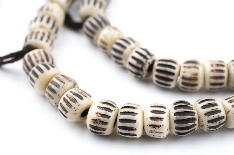 8mm Bone Beads Bone Round Beads Small Nepal Beads Brown Bone Beads 108 Vintage-Style Carved Chevron Bone Prayer Beads BON-RND-BRN-401