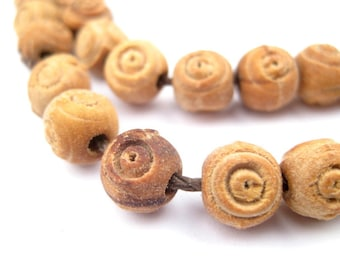 78 Carved Olive Wood Beads from Bethlehem 8mm - Round Wood Beads - Rosary Prayer Beads - Jewelry Supplies From Bethlehem (WOD-RND-BRN-134)