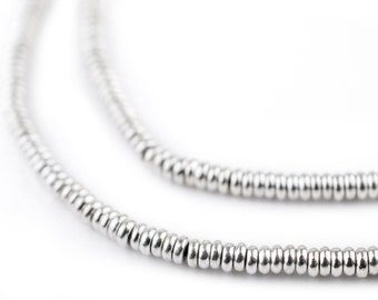 500 Shiny Silver Smooth Heishi Beads 3mm: Ethnic Metal Beads Metal Spacer Beads Rustic Silver Beads Heishi Shaped Beads 3mm Silver Beads