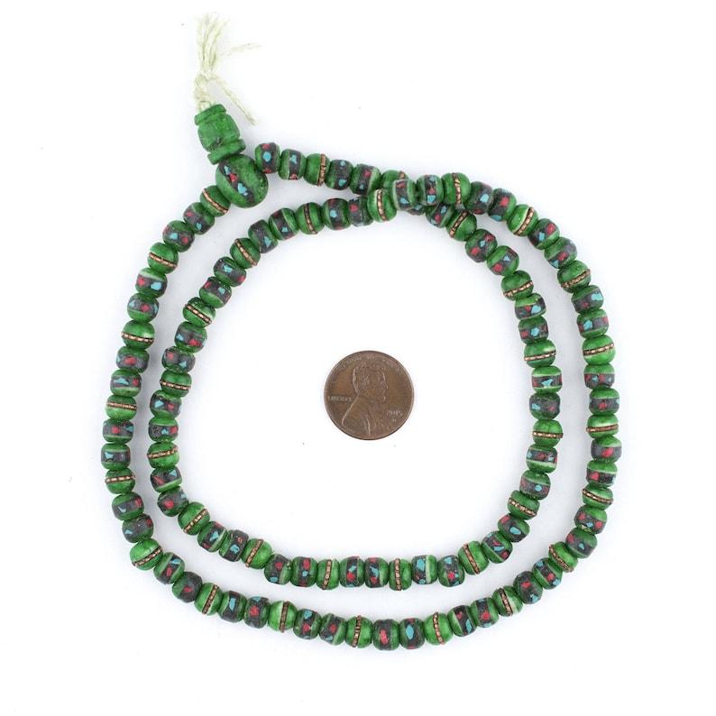 108 Green Inlaid Yak Bone Mala Beads Mala Necklace Yoga Meditation Small Nepal Beads Small Bone Beads 6mm Bone Beads BON-RND-GRN-437