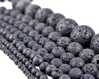 Natural Lava Beads: Black Volcanic Rock Beads 4mm 6mm 8mm 10mm 12mm 14mm Lava Rock Jewelry Beads Round Volcanic Lava Beads Wholesale