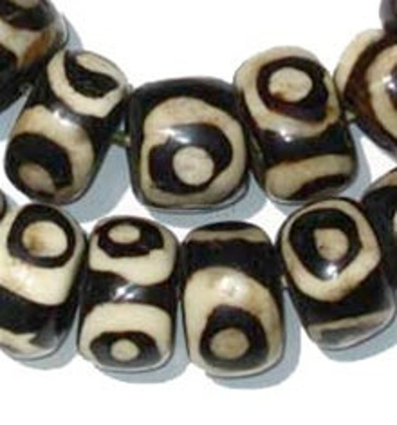 Krobo Chevron Ghana recycled glass beads Pulver Glasperlen Afrika braun 10 mm