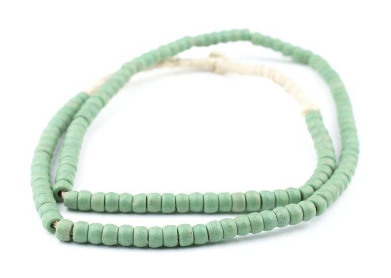 PROS-CYL-GRN-322 Green Prosser Beads Green Button Beads Old Glass Beads Ghanaian Trade Beads 125 Green Prosser Button Beads