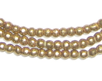 170 Ethiopian Brass Beads - 4mm Round Beads - African Brass Beads - Metal Spacers - Fair Trade - Made in Africa (MET-RND-BRS-234)