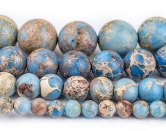 Carolina Blue Sea Sediment Jasper Beads: Round Gemstone Regalite Wholesale 4mm 6mm 8mm 10mm Genuine Natural Stone Healing Imperial Strand
