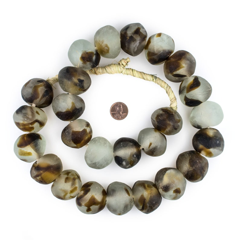 RCY-RND-BRN-1064 28 Super Jumbo Brown Swirl Recycled Glass Beads West African Beads Bottle Glass Beads Rustic Glass Beads Big Glass Beads