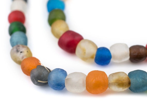 Mixed Recycled Glass Beads 11mm Ghana African Sea Glass Multicolor Round