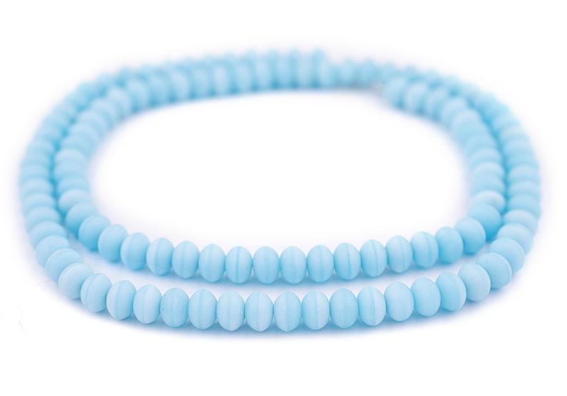 110 Baby Blue Binta Banji Kakamba Beads 5x8mm Saucer Shaped Beads Rustic Glass Beads Blue Glass Beads 8mm Glass Beads Glass Spacer Beads