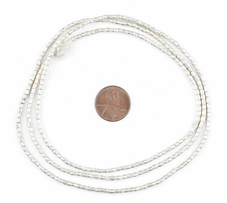 African Beads Jewelry Making Supplies Wholesale Tiny Tubes 25 Strand Ethiopian Metal Beads MET-TUB-SLV-204 Ethiopian Beads