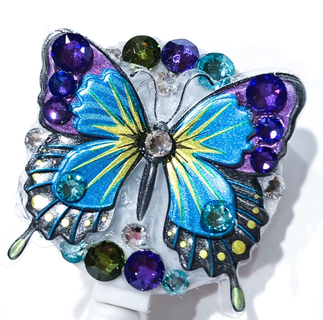 30c4a1e2add6a Beautiful Butterfly Swarovski Crystal Embellished Purple, Teal, Aqua, Green  Clear Crystal Bling Retractable Name Tag Holder ID Badge Reel