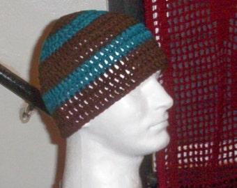 HANDMADE ZAC BROWN STYLE SKULL CAP BEANIE--BLUE /& WHITE--NEW
