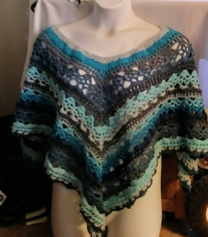 Plus Size Ready To Ship Hand Crochet Shades of Blue Lacey Poncho