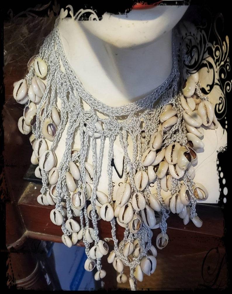 Hand Crochet Genuine Cowrie Shell Yemaya Orisha Necklace Silver Glitter Cotton Thread Ready 2 Ship Prosperity Fertility Yoruba Deity