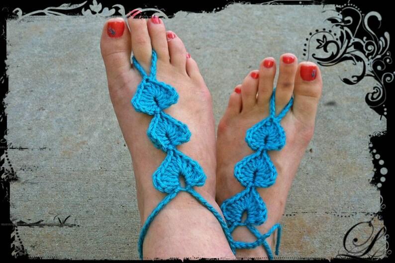 Hand Crochet Heart Barefoot Sandals Made to order Barefoot Bride Destination Wedding Beach Wedding