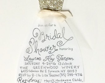 Unique bridal shower invitations etsy bridal shower invitation custom wedding shower invitation dress shaped shower invitation bridesmaid invite custom color inv filmwisefo