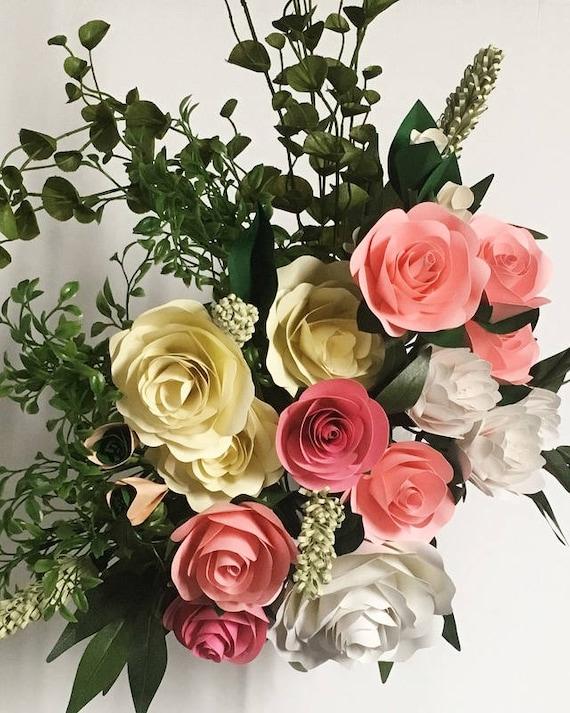 Bridal Bouquet Paper Flower Bouquet Paper Flowers Wedding Etsy