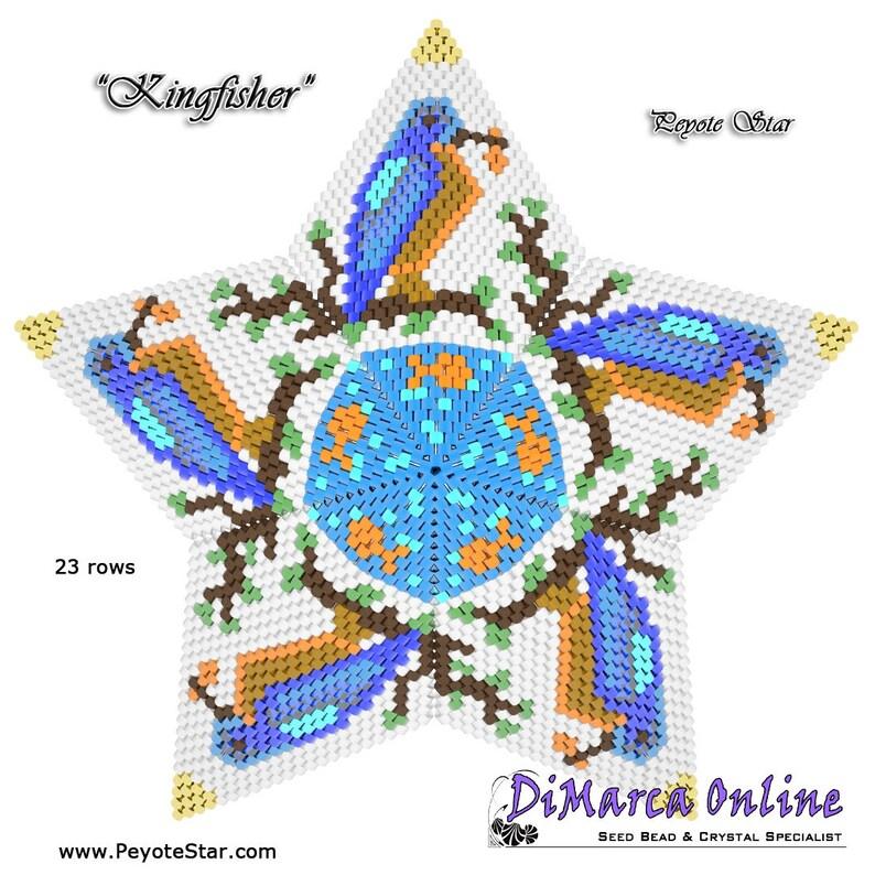 Basic Instructions 3D PEYOTE STAR Beading PatternTutorial KINGFISHER Star