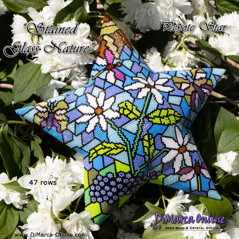 3D Peyote Star Beading Pattern STAINED GLASS NATURE with Basic Instructions Tutorial