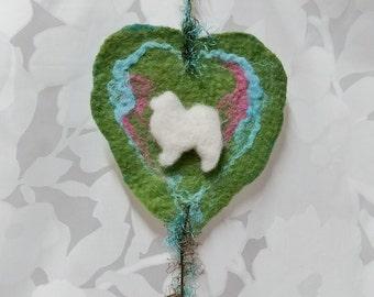 Felted Heart With Samoyed