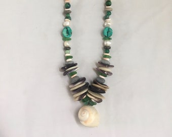 Native American jewelry wampum mermaid necklace with moonshell