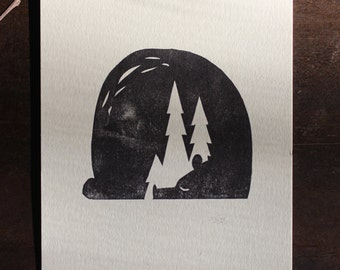 Sleeping Bear Linocut Print