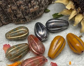 Melon Drop Mix 8x15mm Czech Beads, 8pc, Boho Style, 4 Earring pairs
