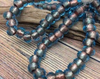 LARGE HOLE 6x9mm Czech Glass Roller Beads 3mm hole, Capri Blue with Copper Lining, from Dream Girl Beads