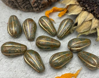 Melon Drop 8x15mm Czech bead, Olive Picasso with gold wash, Boho Style