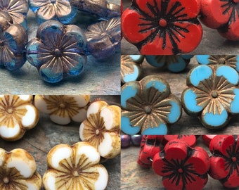 Large Hawaiian Carved 21mm Flower Focal Beads Czech Glass, Your Color Choice, 2pc