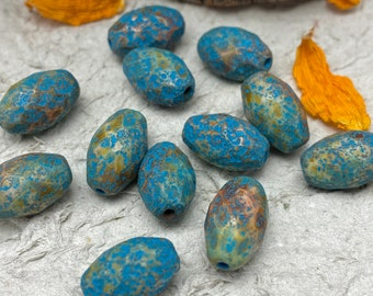 Firepolished Oval Turquoise with Heavy Picasso Etched Finish 8x12mm Czech Glass Bead 12 pc
