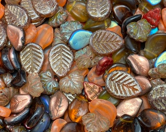 Czech Glass Leaf Charm and Pendant Mix Exclusive Dream Girl Beads, Loose Bead, Autumn Leaves Collection Approximately 40 pc