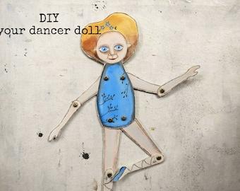 The Blue Dancer paper toy INSTANT Download  illustration Diy  - articulated paper doll -  printable decoration pdf - for kids