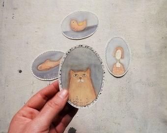 Printable stickers,  INSTANT Download,  illustration Diy,  printable decoration pdf,  scrapbook stickers, animals illustration