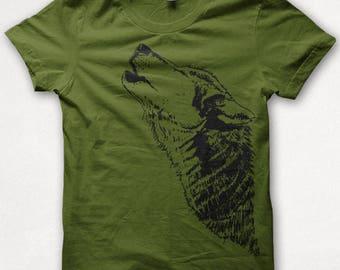 76e2cfbd Mens Tshirt, Wolf Shirt, Howling Wolf, Wolf Tshirt, Screenprinted Shirt,  Graphic Tee - Olive