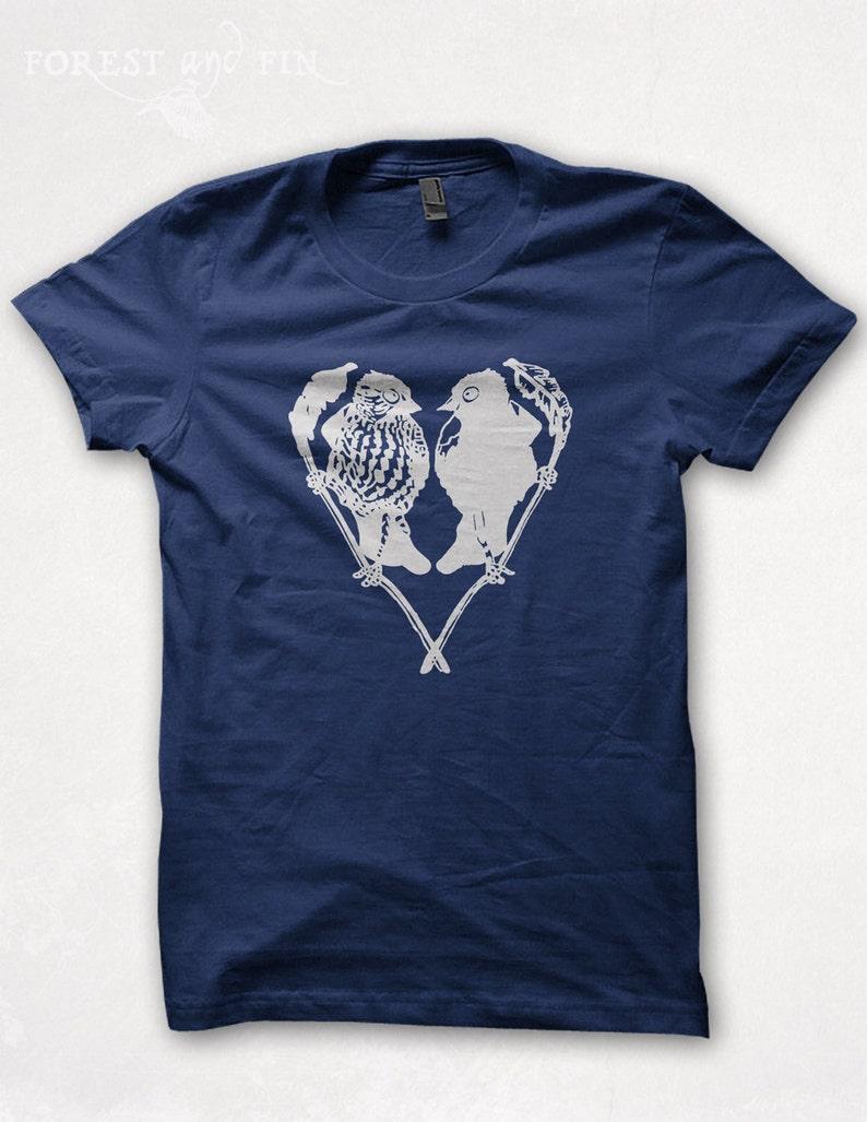 T Gráficos Amantes Marina Camiseta Pájaro Mujeres Agapornis Serigrafiado lKF1JTc