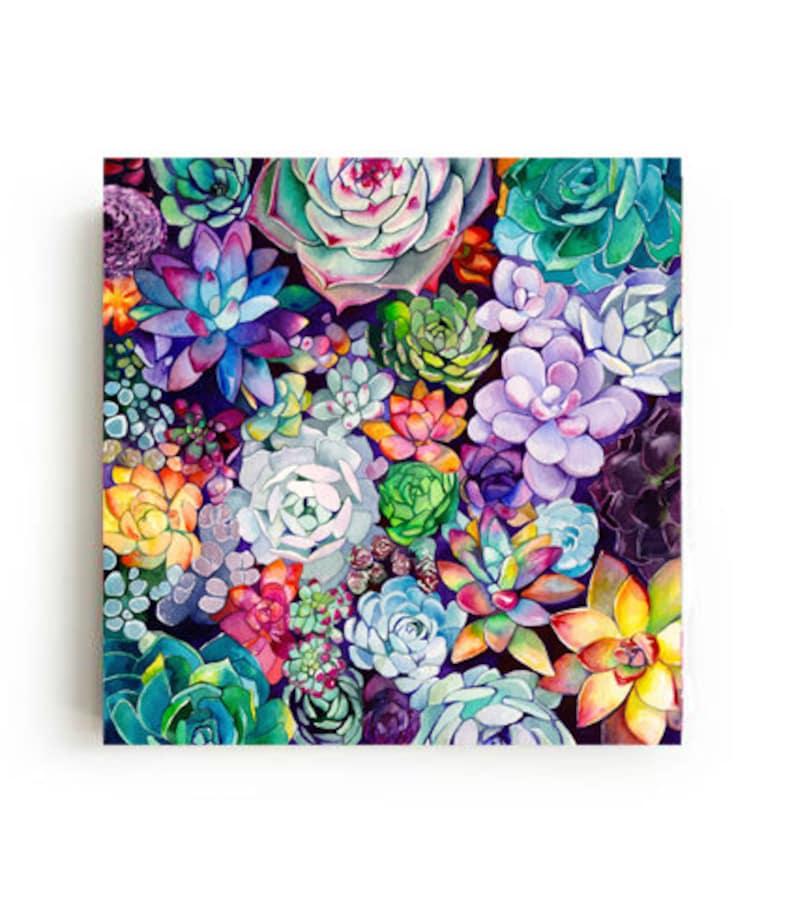 Succulent Garden Canvas Print Large Wall Art Bright Home