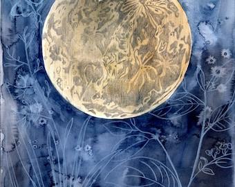 Moon Garden -  Watercolor Painting - Night - Flowers - Garden - Luna Moth - 11x14 Giclee Print - Drawing - Illustration
