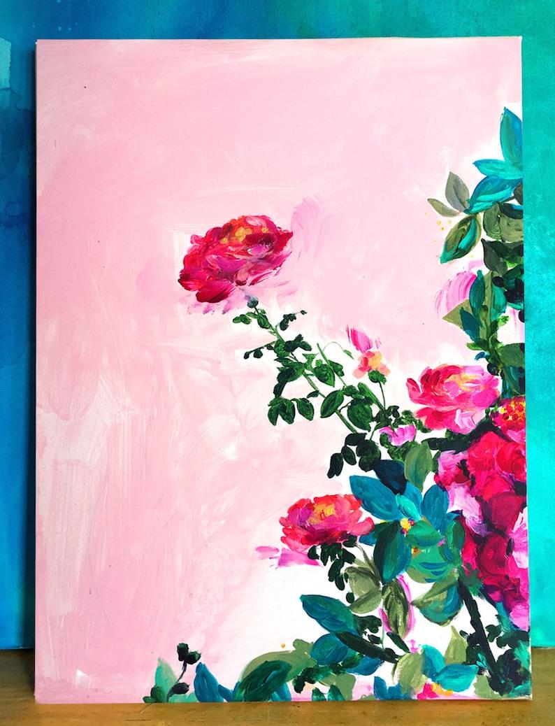 Rose Garden Canvas Print Large Wall Art Bright Home Decor