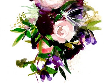 Custom Wedding Bouquet Painting - Anniversary Gift - Original Watercolor Painting from your Photo - Gift - Flowers - Marriage