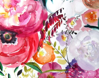 Bloom -  Watercolor Painting - Abstract Floral - Pink - Magenta - Illustration - 8x8 Giclee Print - Home Decor