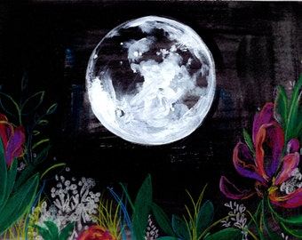 New Moon -  Watercolor Painting - Night - Flowers - Garden - 11x14 Giclee Print - Drawing - Illustration
