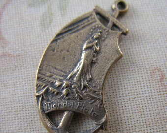 Stella Maris Medal Religious Charms Catholic Rosary Parts Solid Bronze Findings Sailors