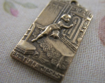 Solid Bronze Jesus Are You There Pendant Religious Charms Findings