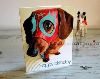 Lucha Libre Dachshund Birthday Card
