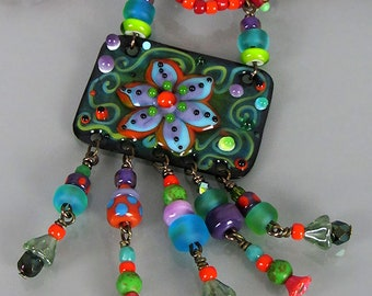 Lampwork Multicolor Necklace - BOHO CHIC Necklace - Enameled Copper Art Pendant in lampwork style including Lampwork beads