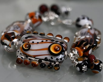 Murano glass bead face bead lampwork focal glass bead face bead Picasso style SRA flower bead nature borwn art bead OOAK