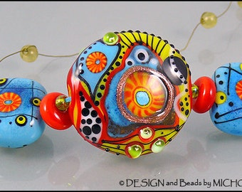 """Lampwork Glass bead set """"Other Planet"""" by Michou Pascale Anderson"""