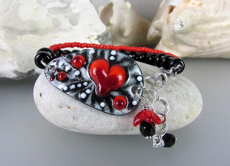 Heart of life Lampwork Bracelet by Michou Sonic /& Yoko Lightweight Copper Art Boho-Chic