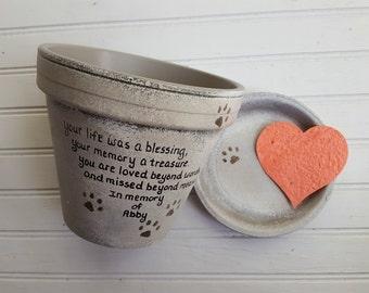 Pet Loss Gift - Dog Memorial Gift - Cat Memorial Gift - Pet Memorial Gift - Painted Flower Pot - Memorial Planter - Garden Pet Memorial