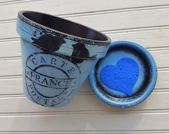 Garden Container - Painted Flower Pot - Black and Blue - Rustic Planter - Vintage Room Decor - Rustic Room Decor